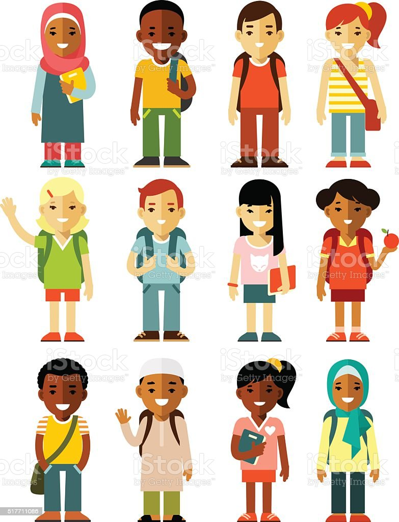 Different school children stand set in flat style vector art illustration
