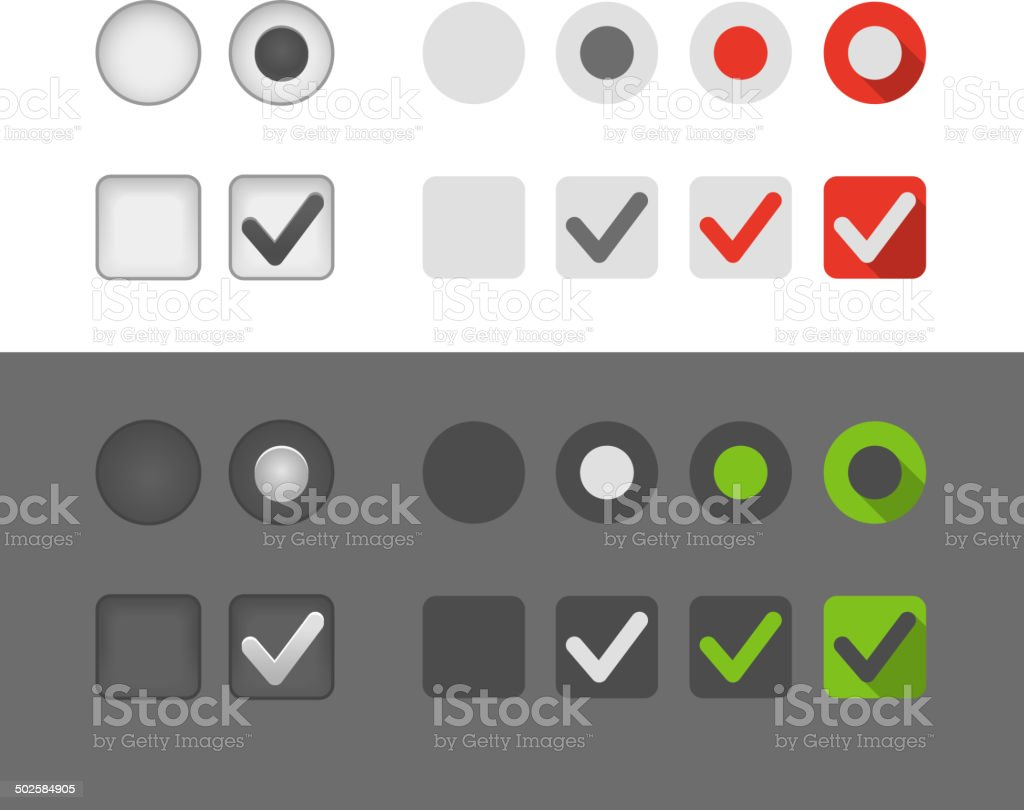 Different selection graphic buttons set vector art illustration