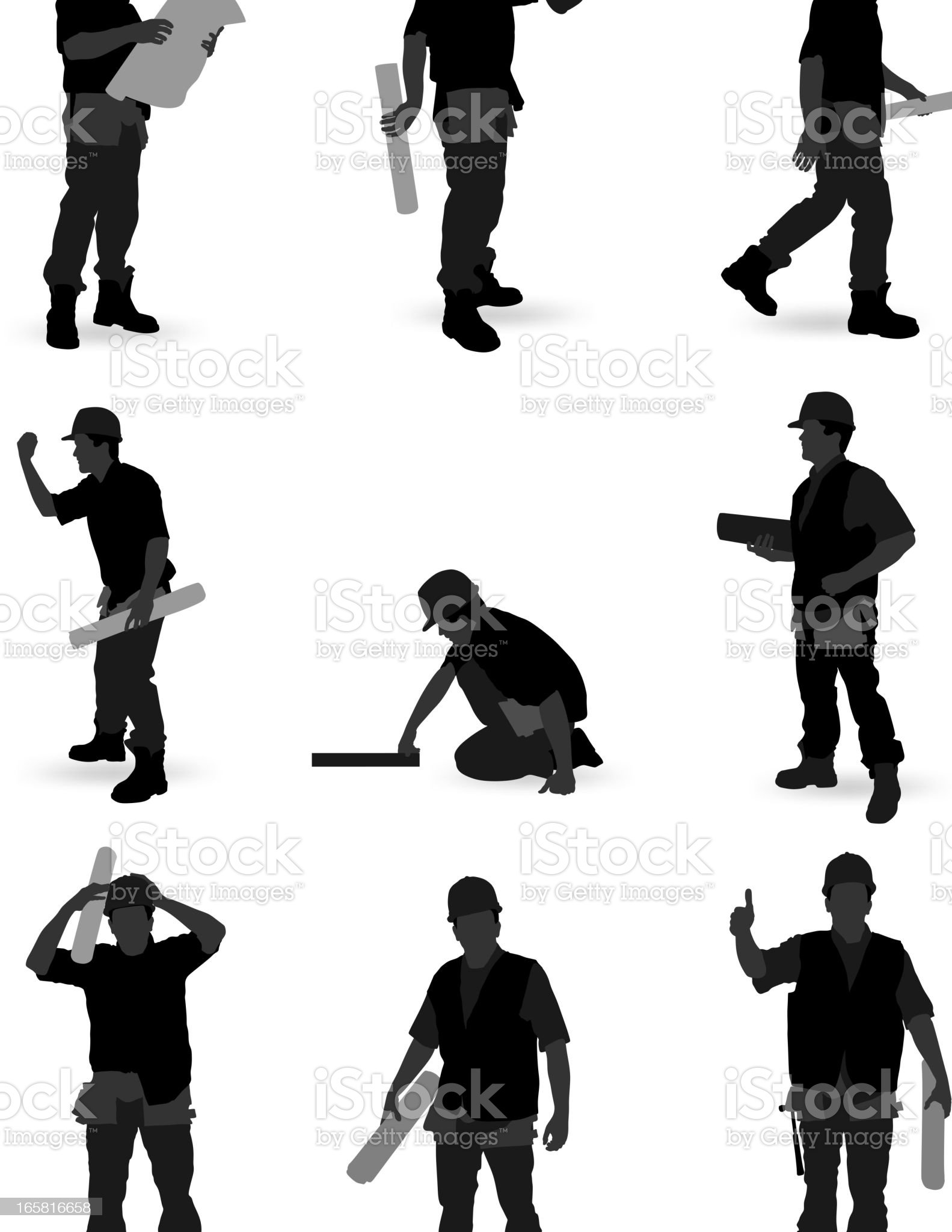 Different shadows of worker on the job royalty-free stock vector art
