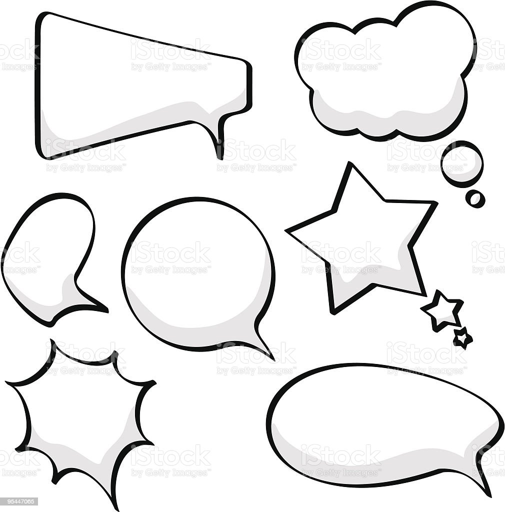 Different shaped empty speech an thought bubbles royalty-free stock vector art
