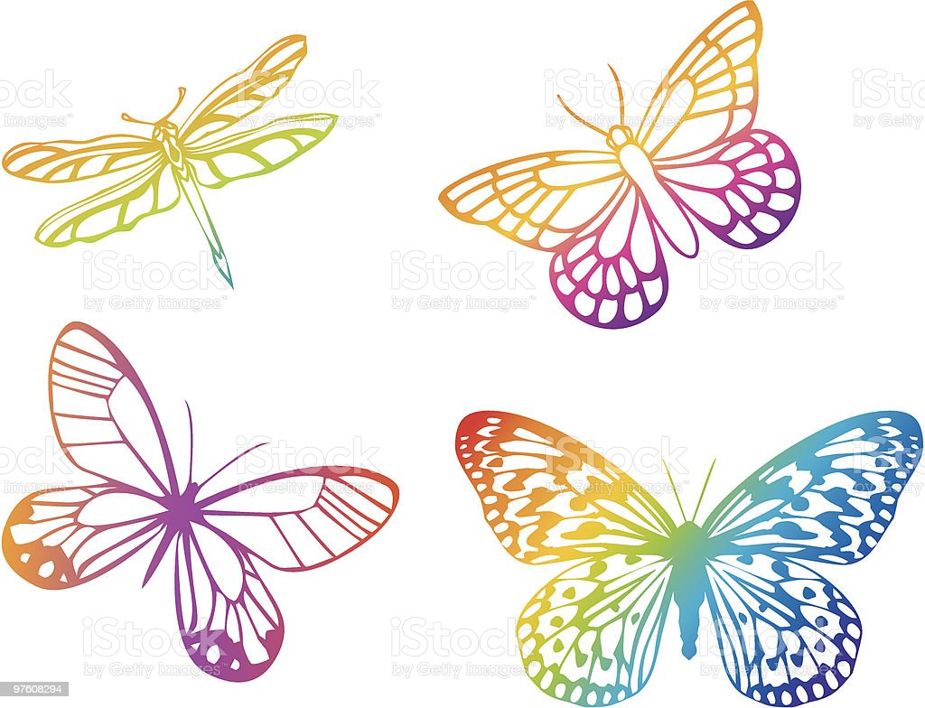 4 different shapes of colorful butterflies royalty-free stock vector art