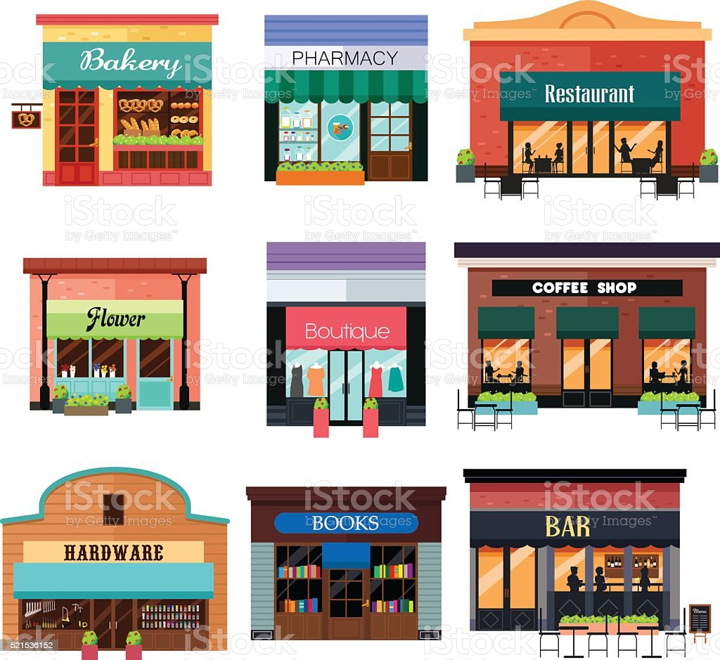 Different Shop Icons vector art illustration