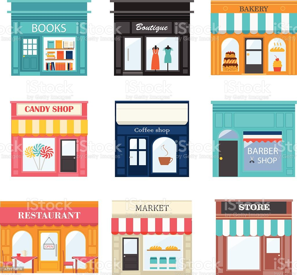 Different shops and stores icons set. vector art illustration