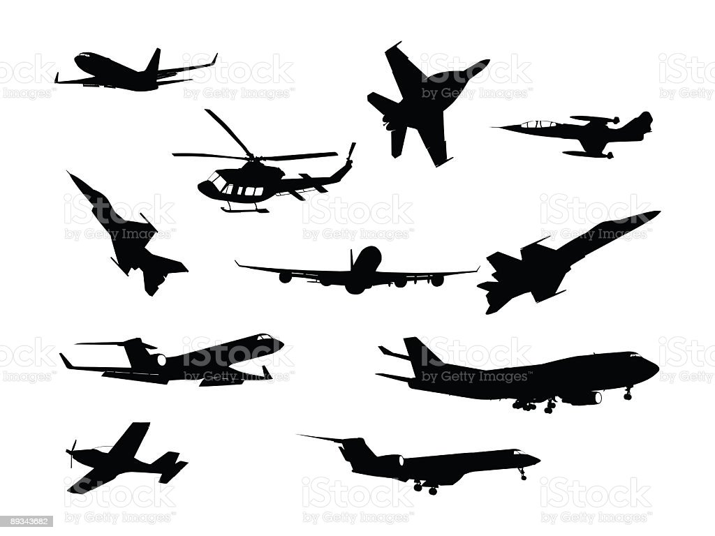 Different silhouettes of various aircraft white background vector art illustration