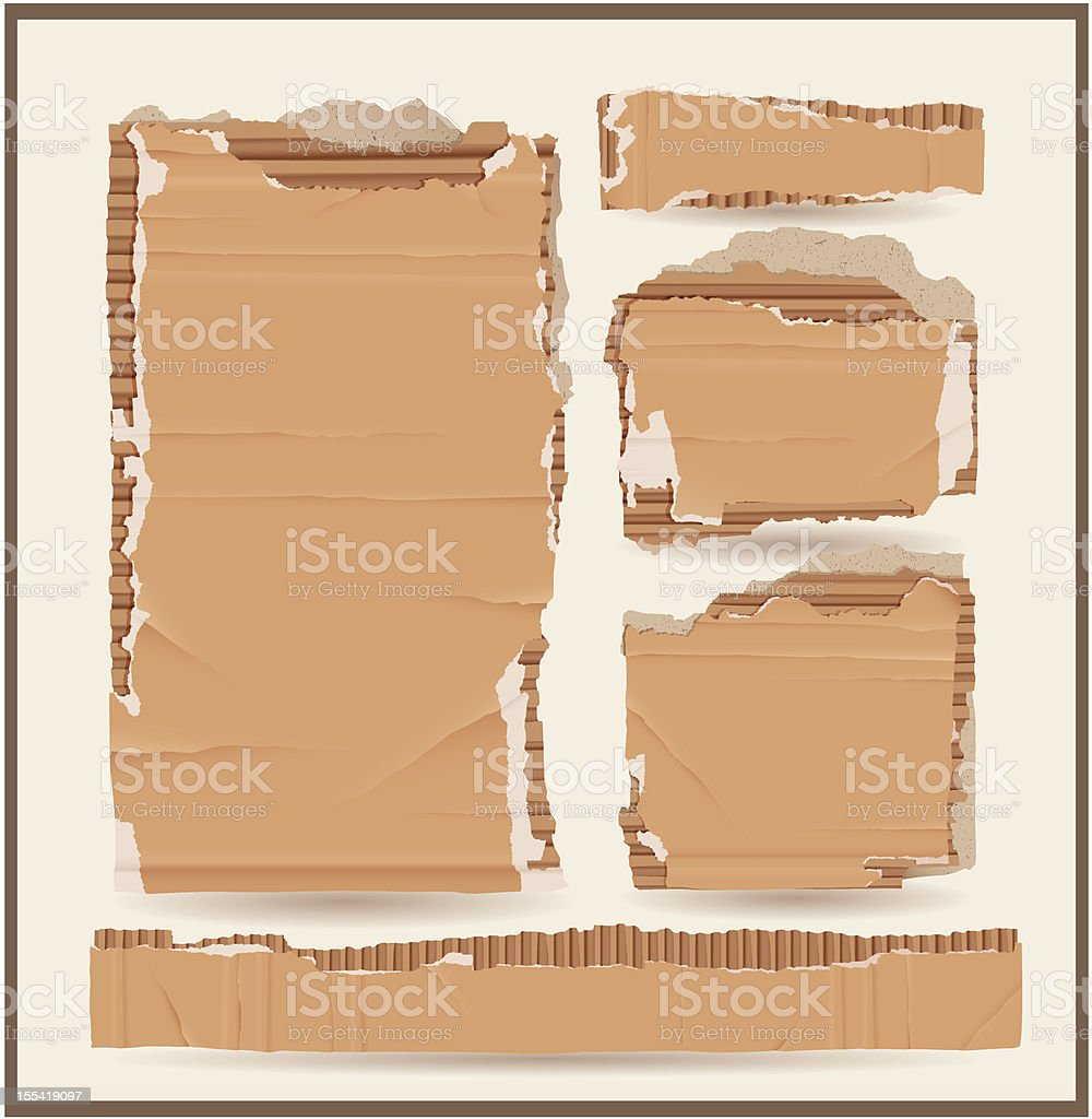 Different size cardboard objects lined up vector art illustration
