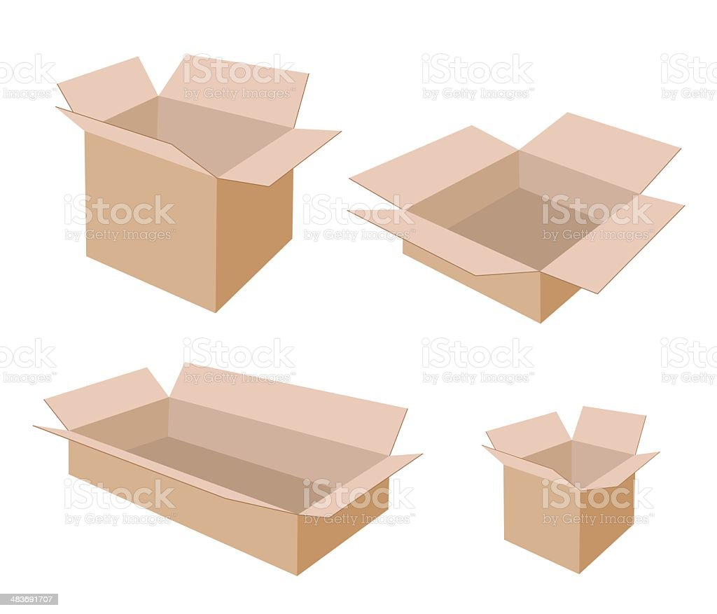 Different Size of Open Blank Brown Cardboard Boxes vector art illustration