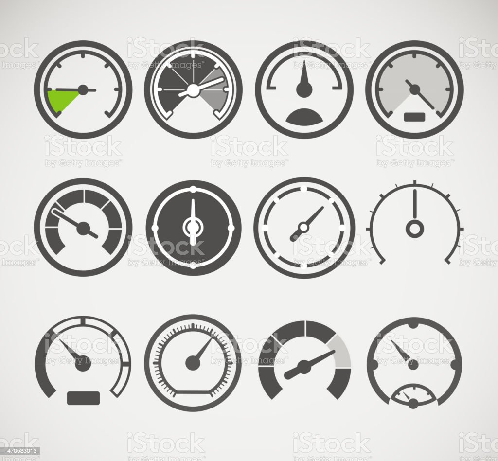 Different slyles of speedometers vector collection vector art illustration