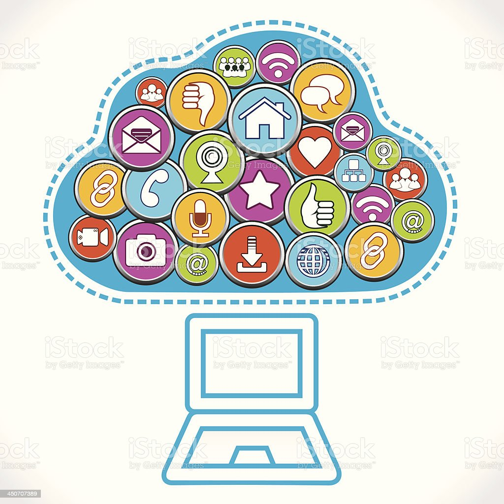 different social media icons make cloud royalty-free stock vector art