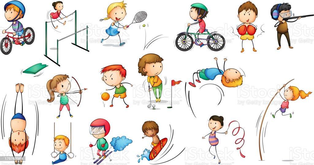 Different sports activities vector art illustration