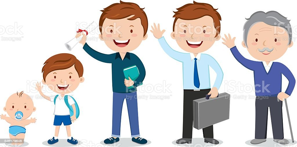 Different stages of a man's life vector art illustration
