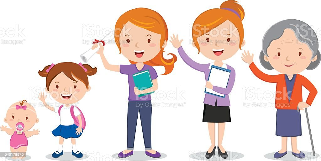 Different stages of a woman's life vector art illustration