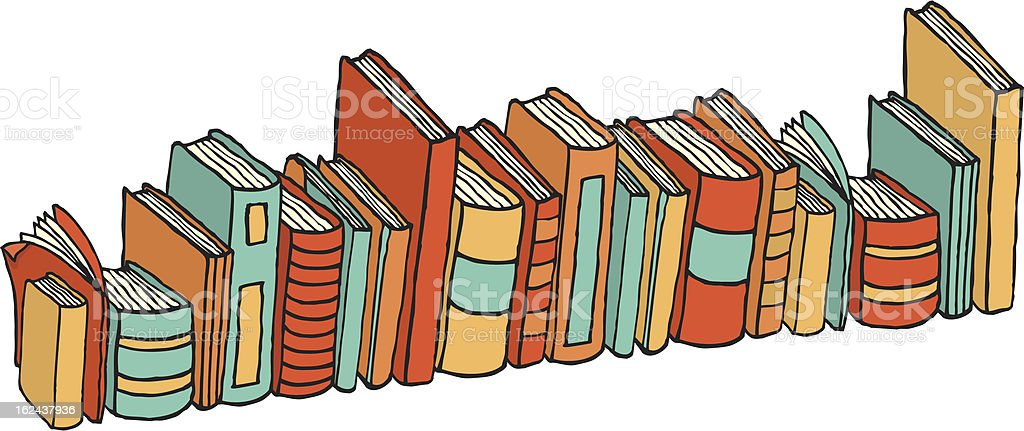Different standing books / Library stack royalty-free stock vector art