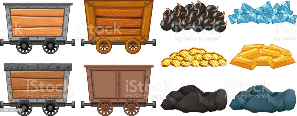 Different stone and mining carts vector art illustration