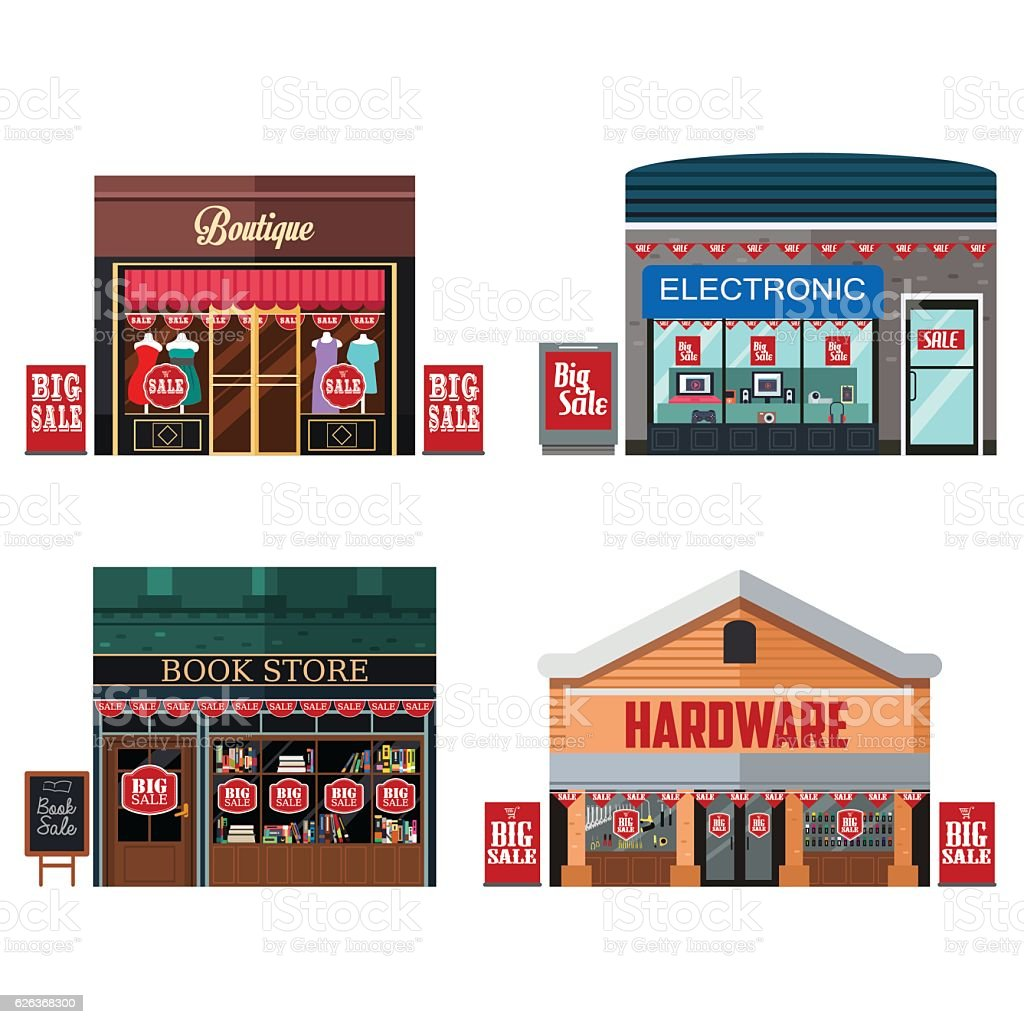 Different Stores with Sale Signs vector art illustration