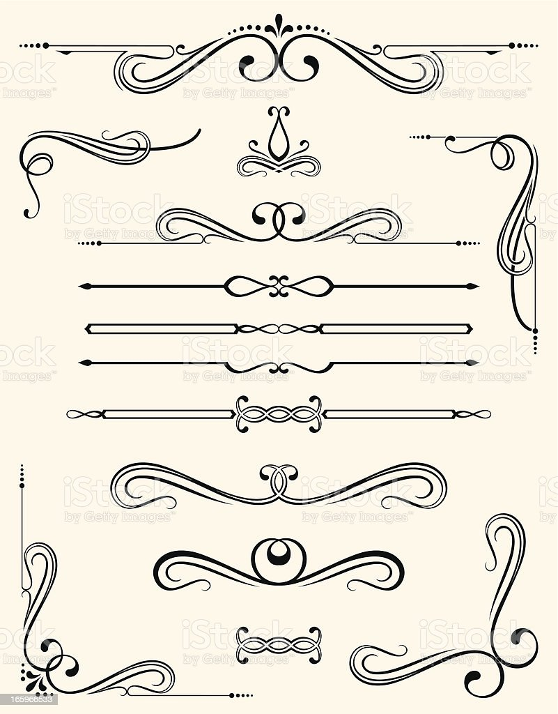 Different style decorative templates for a header vector art illustration