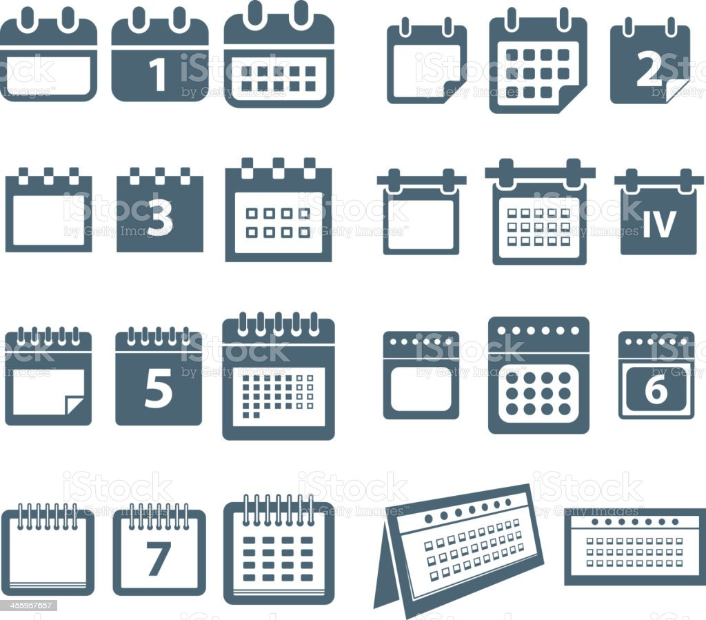 Different styles of calendar vector art illustration
