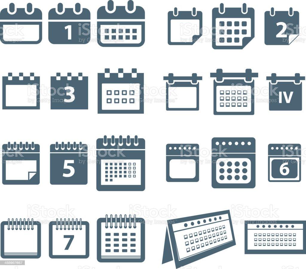 Different styles of calendar vector art illustration
