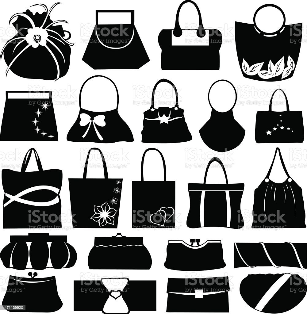 Different styles of handbags and purses  vector art illustration