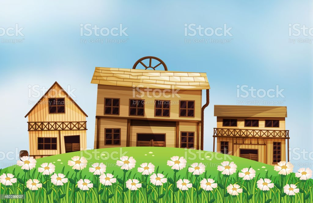 Different styles of wooden houses royalty-free stock vector art