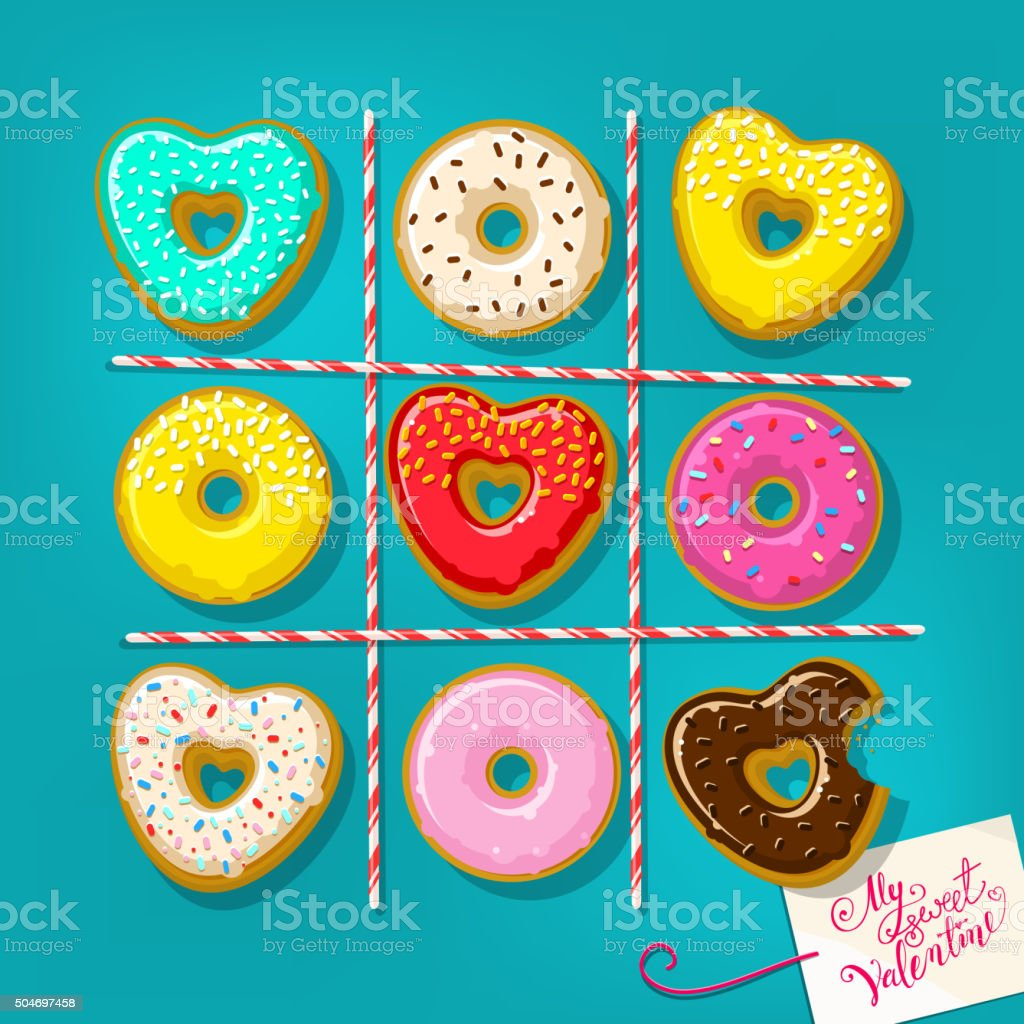 Different sweet donuts vector art illustration