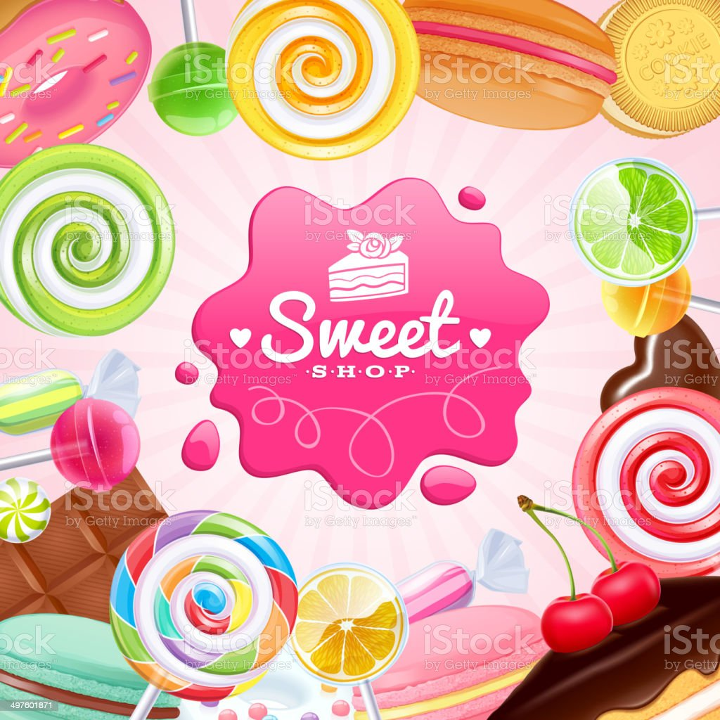 Different sweets colorful background. vector art illustration