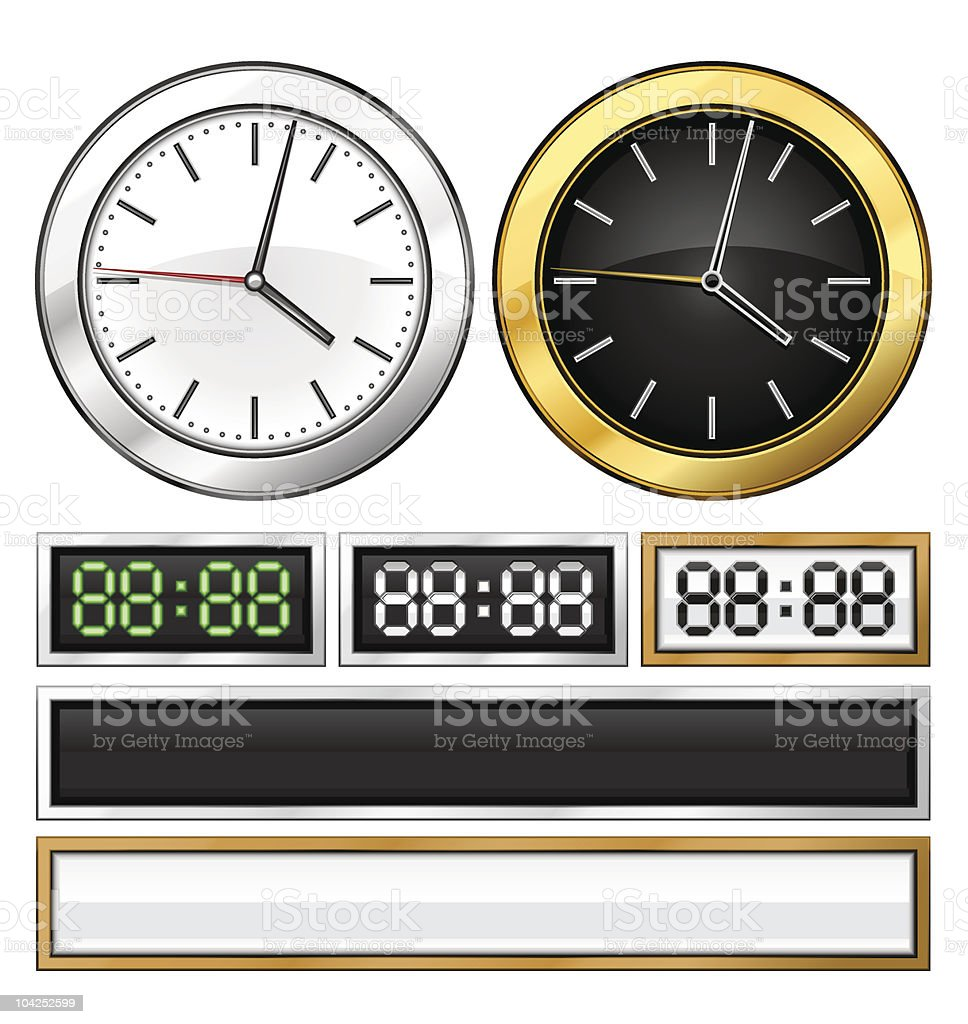 different templates of mechanical and electronic clock royalty-free stock vector art