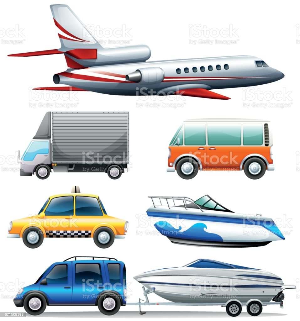 Different transportations on white background vector art illustration
