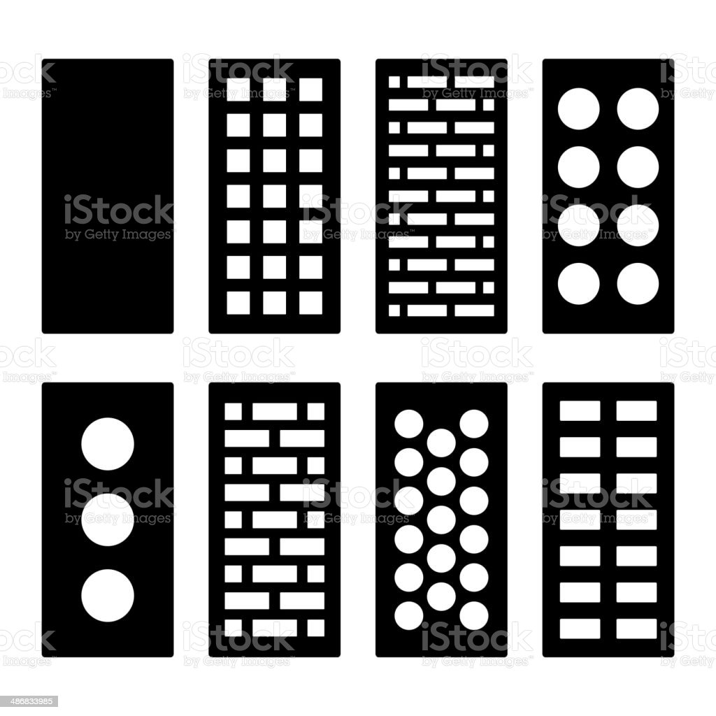 Different Type Bricks Icons Set. Vector royalty-free stock vector art