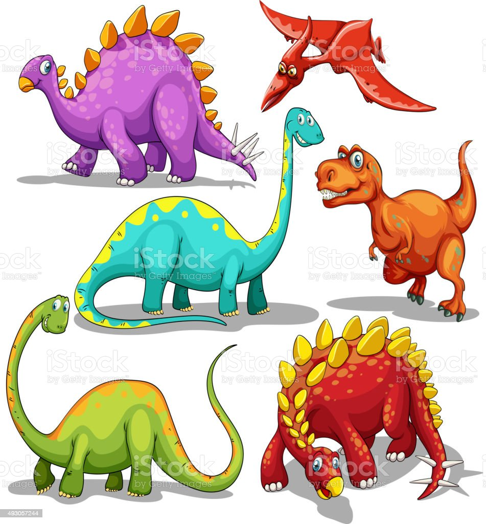 Different type  dinosaurs vector art illustration