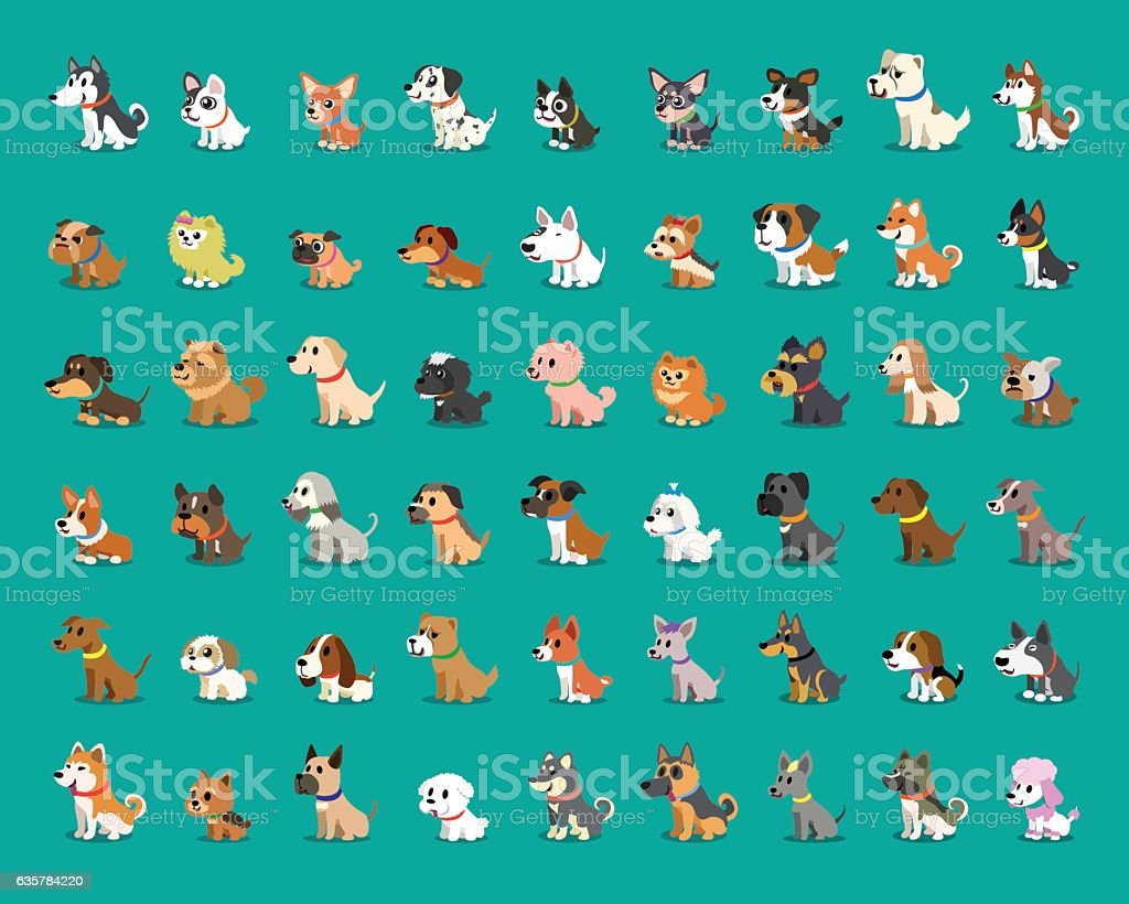 Different type of cartoon dogs vector art illustration
