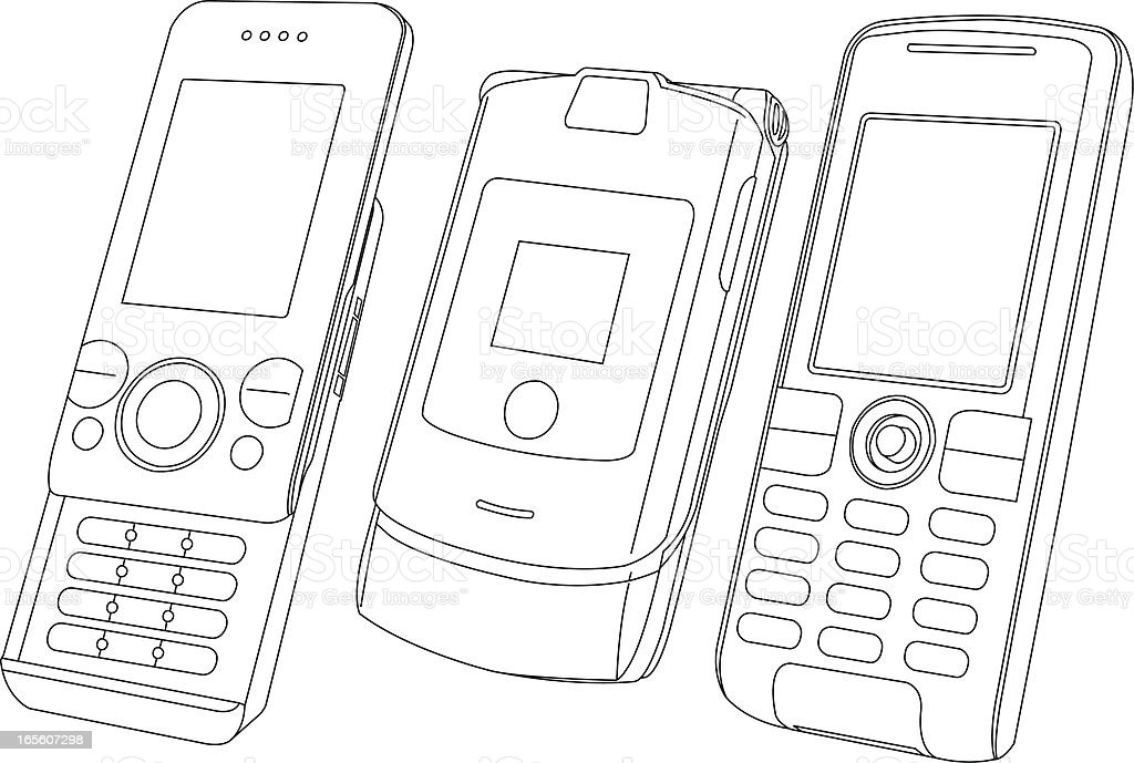 Different Type of Mobile Phones royalty-free stock vector art