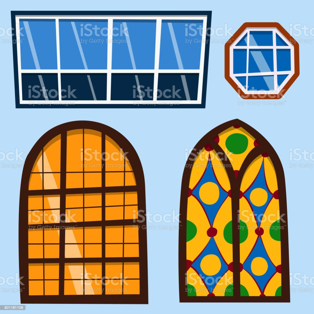 Windows House Types - Different types house windows elements flat style frames construction decoration apartment vector illustration royalty free
