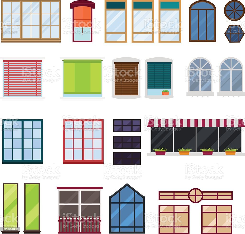 Different types house windows vector elements isolated on white background vector art illustration