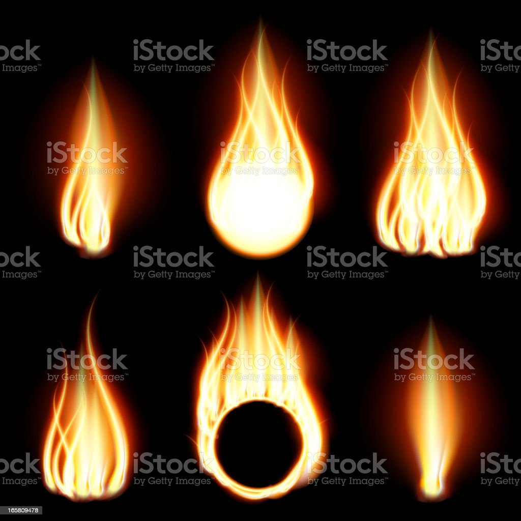 Different types of abstract flames created in an art program vector art illustration