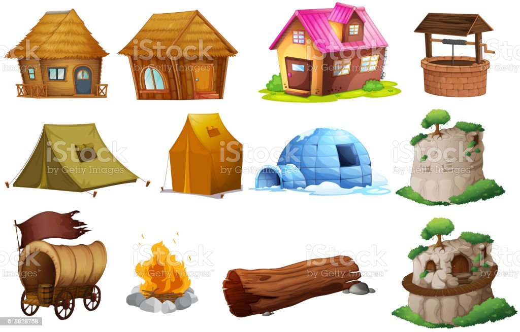 Different types of accommodations vector art illustration
