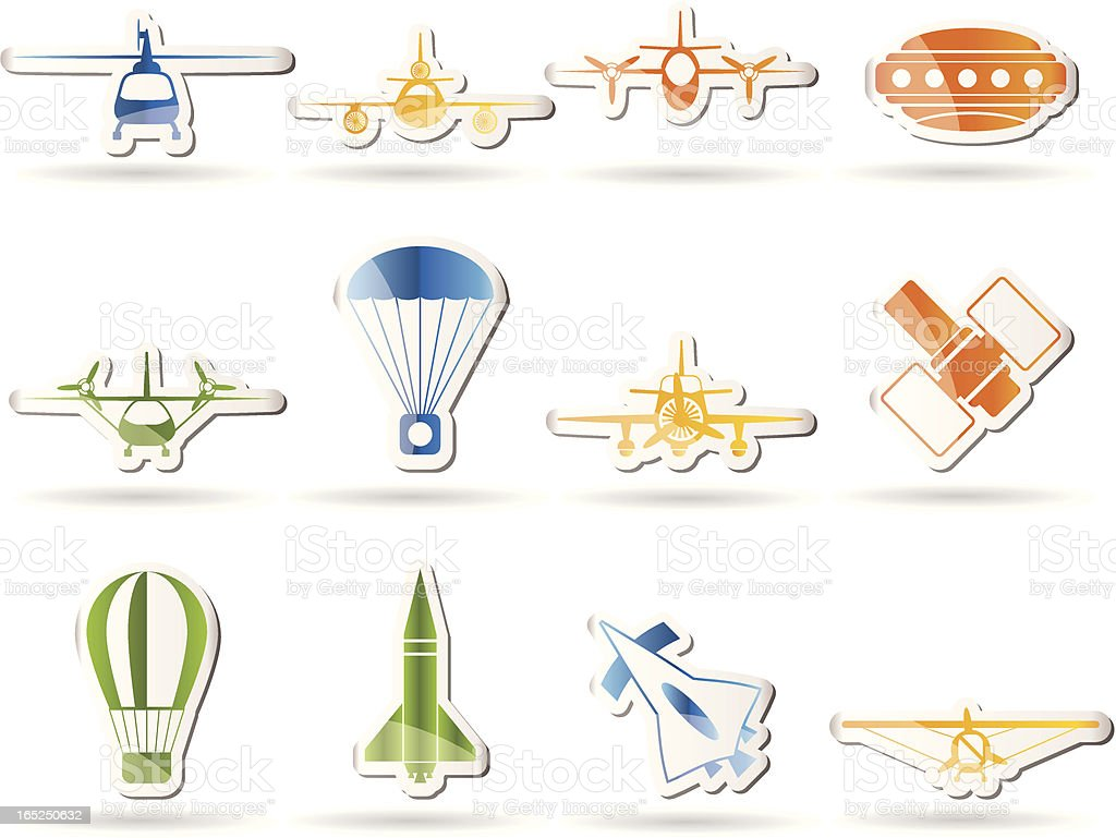 different types of Aircraft Illustrations and icons royalty-free stock vector art