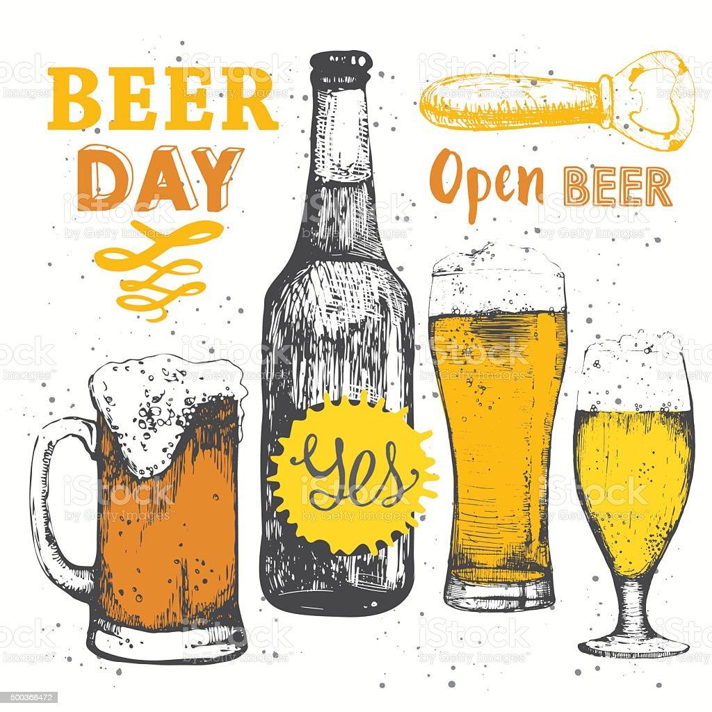 Different types of beer and cider. Beer set. Pub menu. vector art illustration