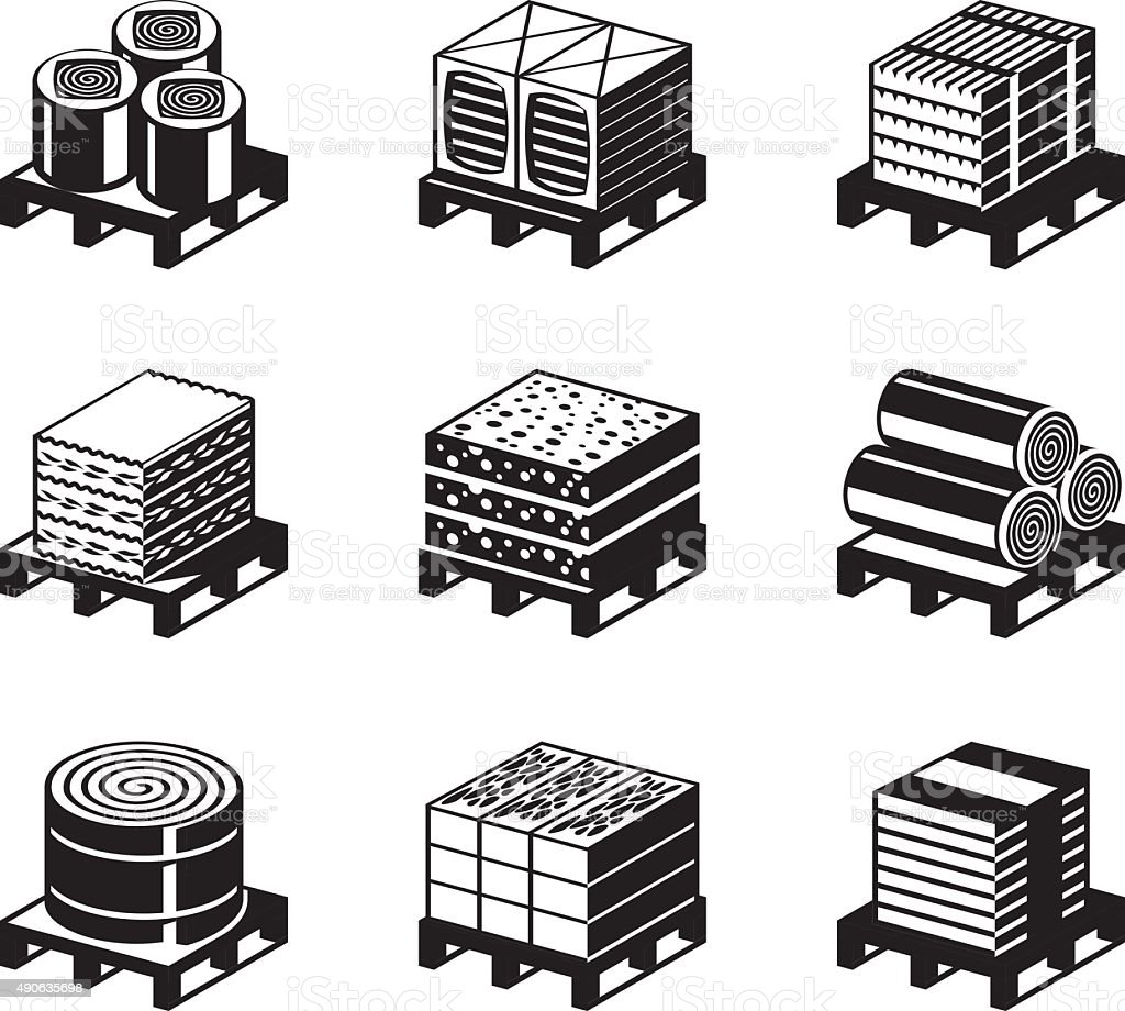 Different types of building insulation vector art illustration