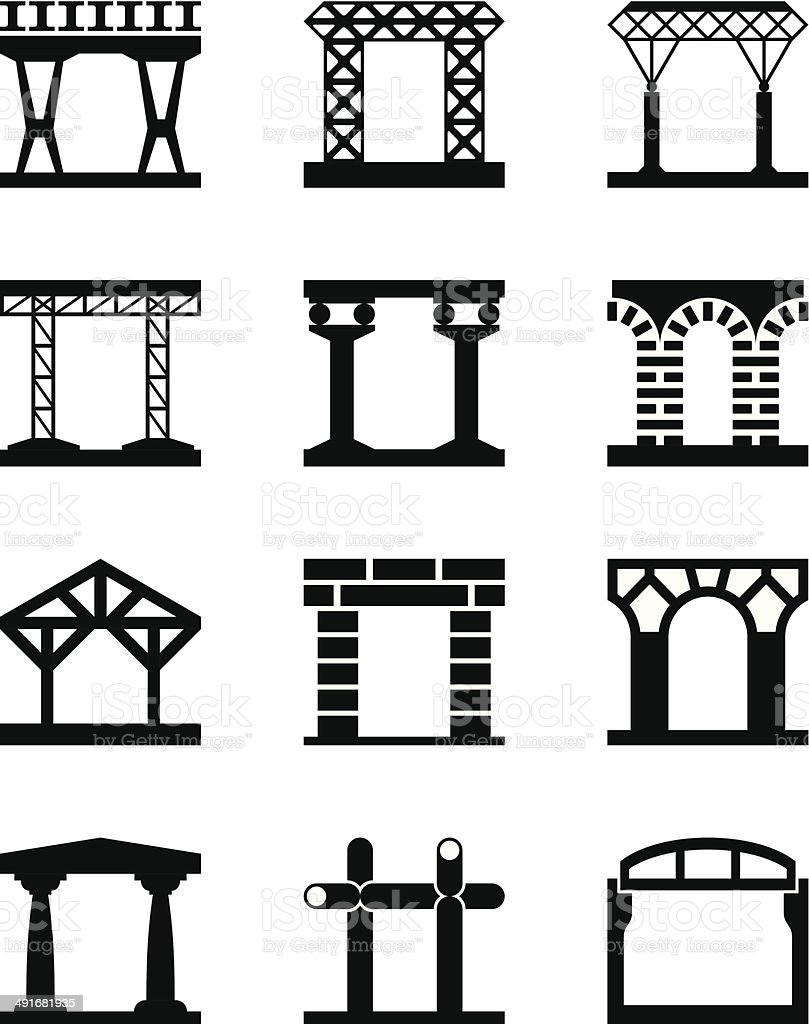 Different types of building structures vector art illustration