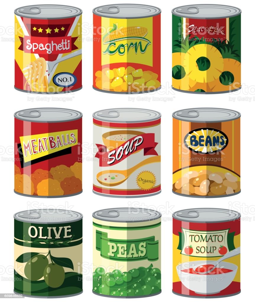 Different types of food in can vector art illustration