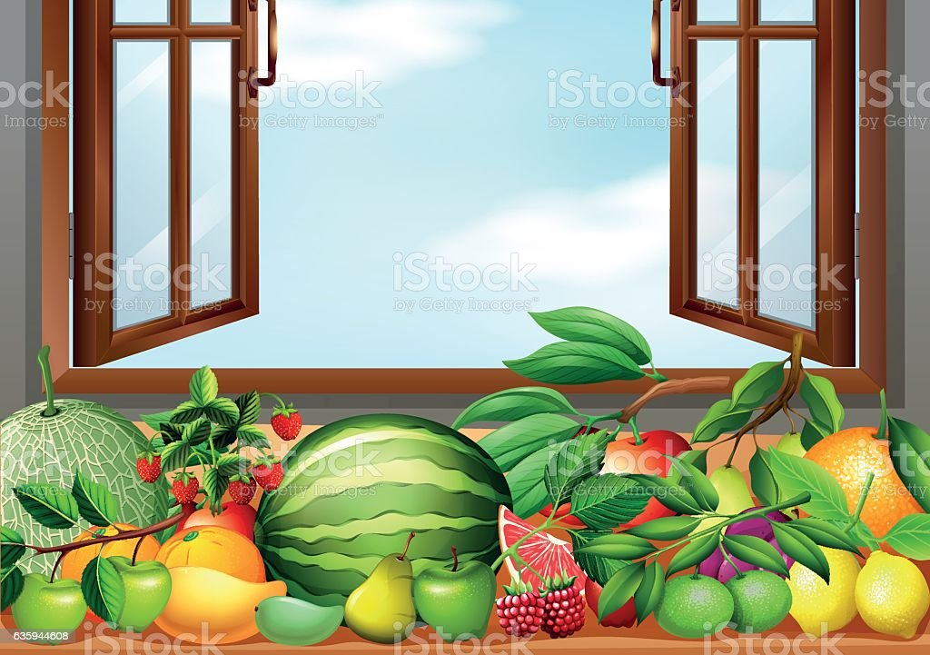 Different types of fruits on the table vector art illustration