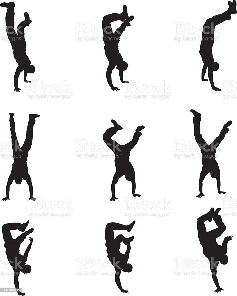 Different types of handstands royalty-free stock vector art