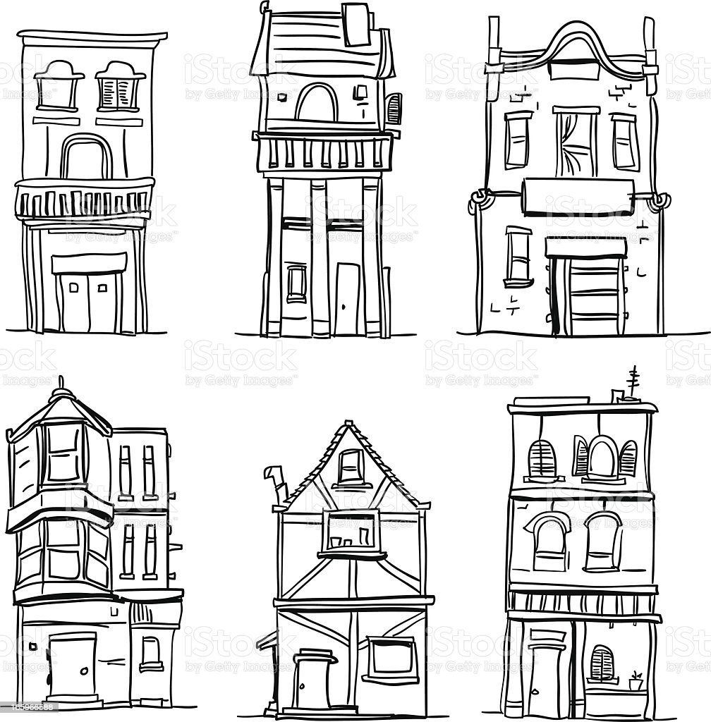 Different types of houses in black and white royalty-free stock vector art