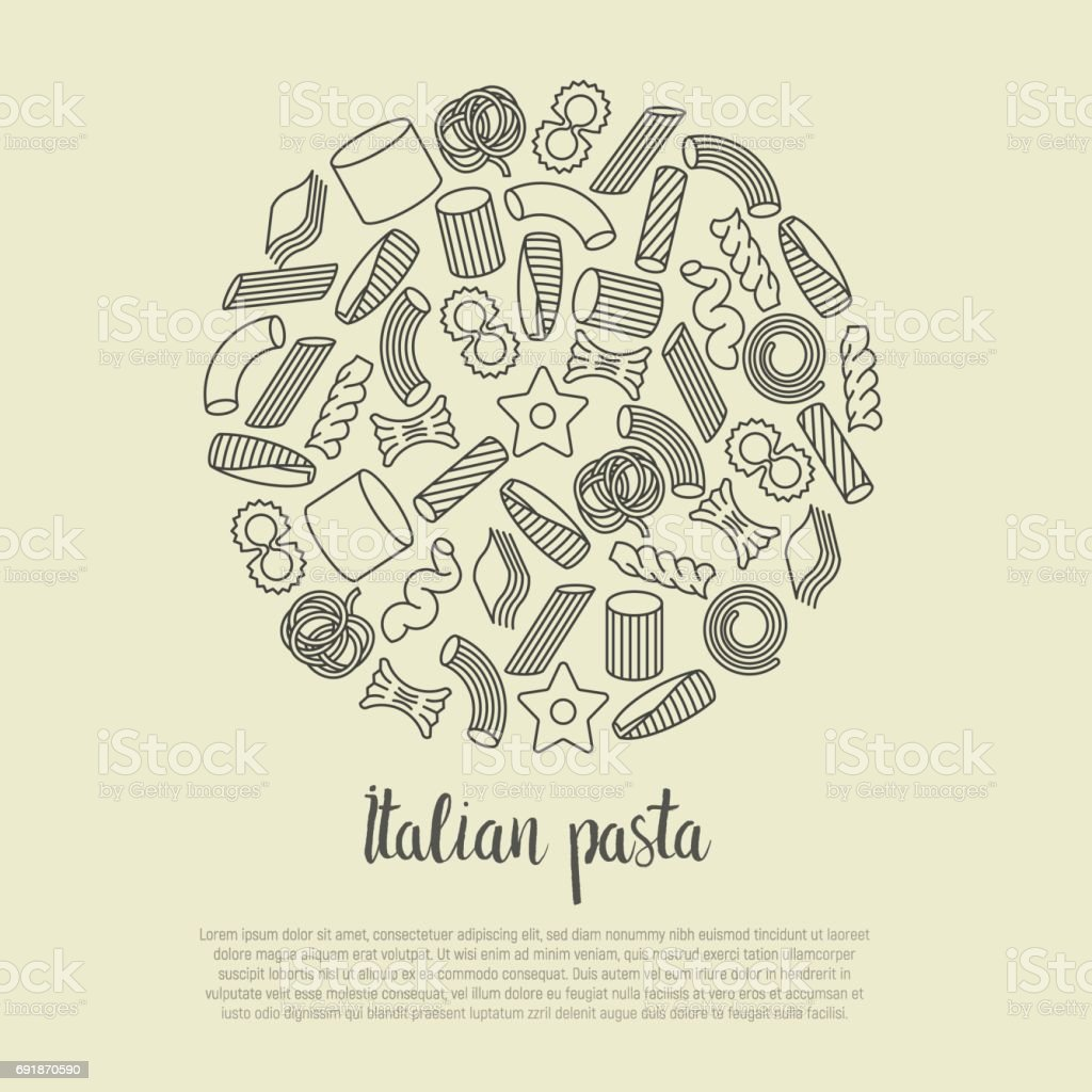 Different types of Italian pasta concept for menu background of restaurant or cafe. Thin line vector illustration. vector art illustration