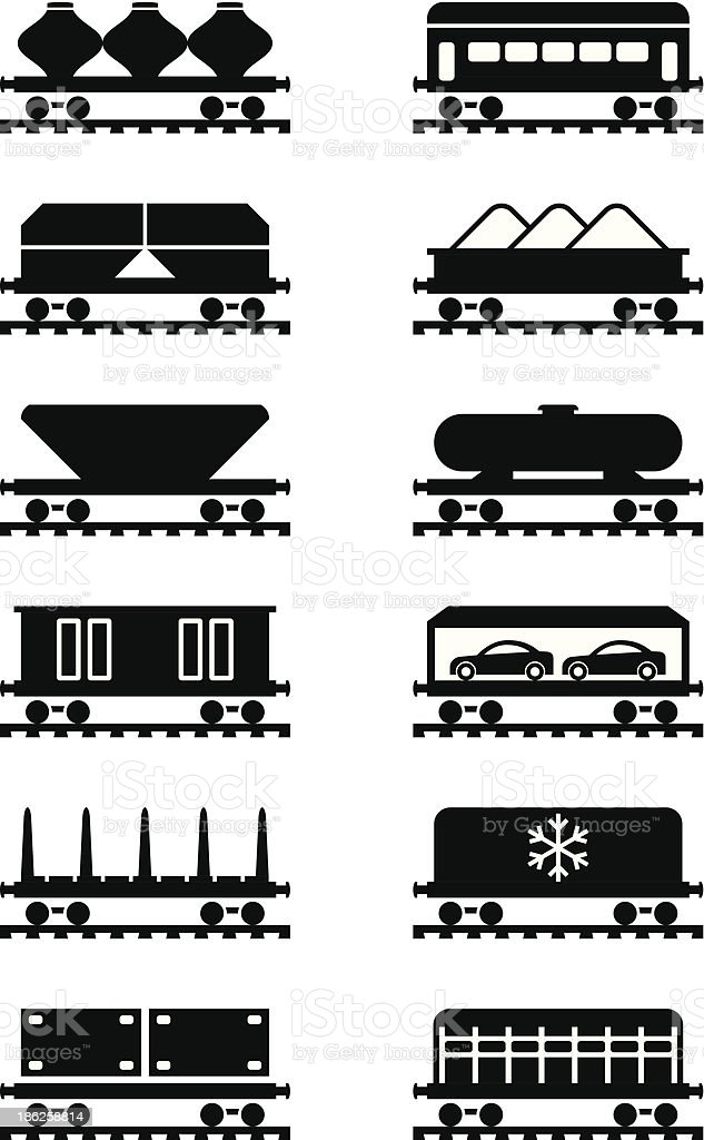 Different types of railway wagons vector art illustration