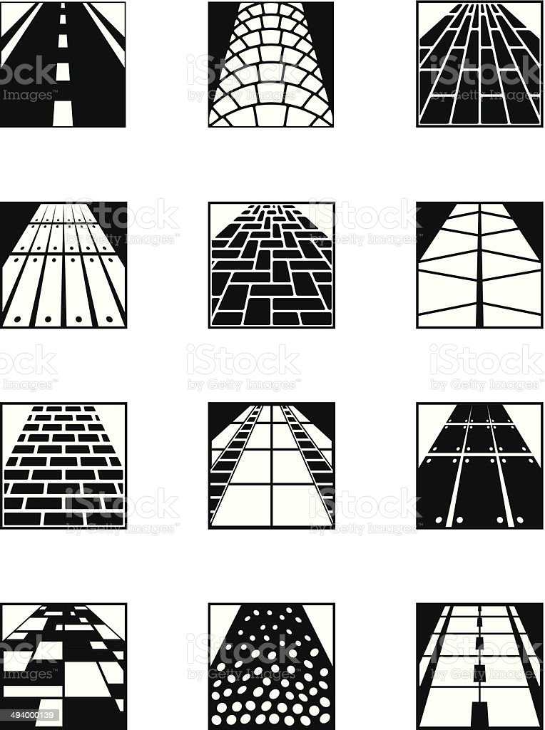 Different types of road surfaces vector art illustration