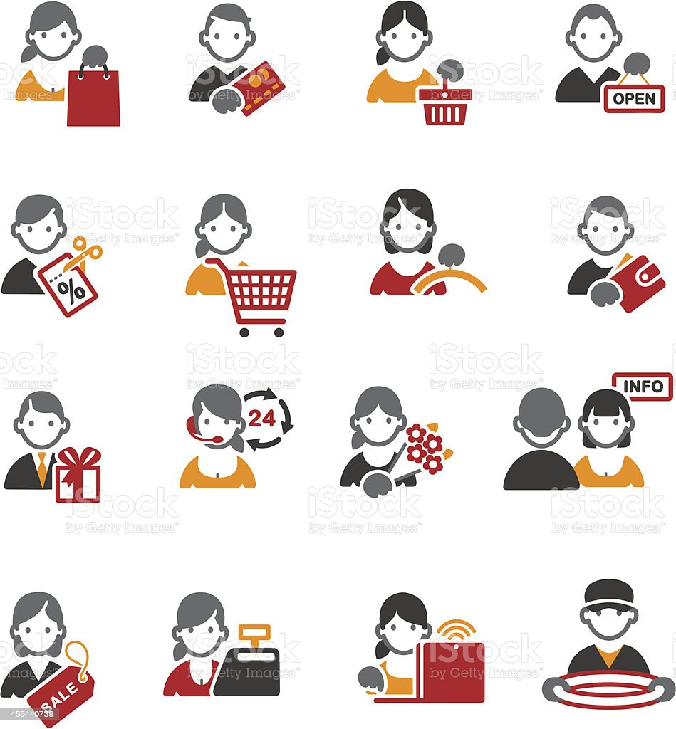 Different types of shopping in icons  royalty-free stock vector art