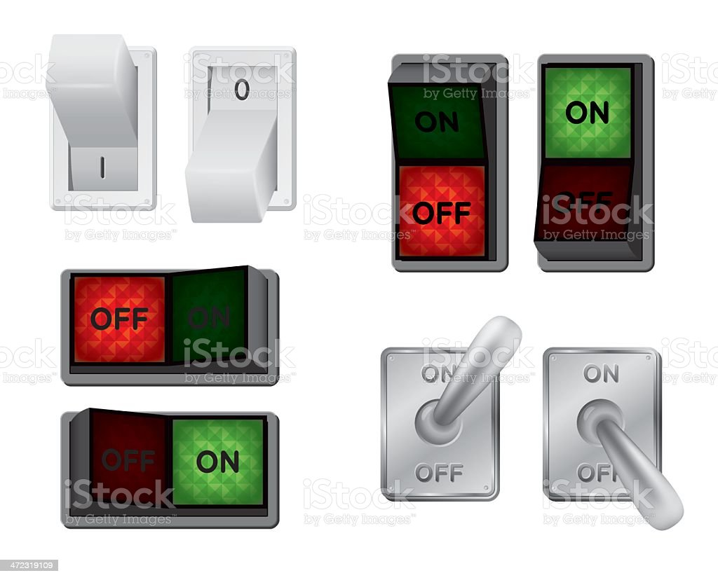 Different types of switches illustrated royalty-free stock vector art