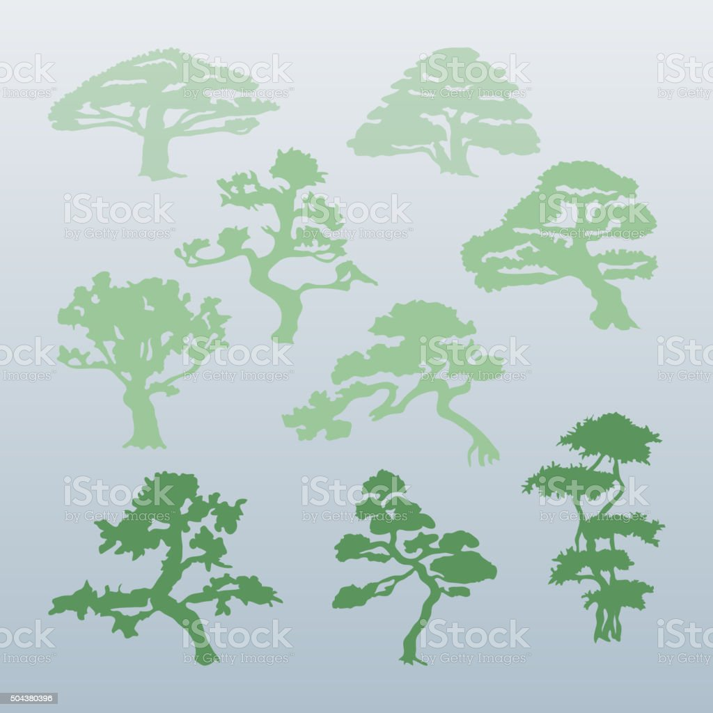 Different types of trees vector. vector art illustration