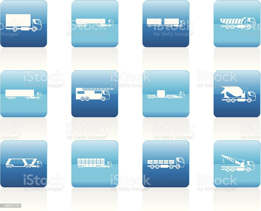 different types of trucks and lorries icons royalty-free stock vector art